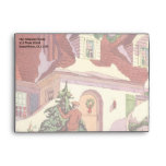 Vintage Christmas, Family House in the Snow Envelope