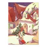 Vintage Christmas, Family House in the Snow Custom Invite
