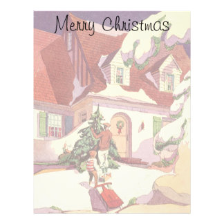 Vintage Christmas, Family House in the Snow Letterhead