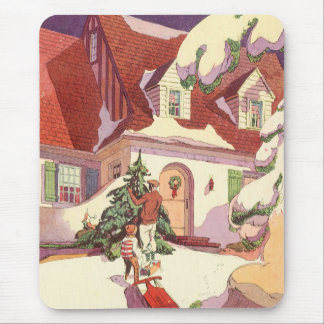 Vintage Christmas, Family House in the Snow Mouse Pad