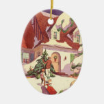 Vintage Christmas, Family House in the Snow Christmas Tree Ornaments