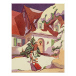 Vintage Christmas, Family House in the Snow Poster
