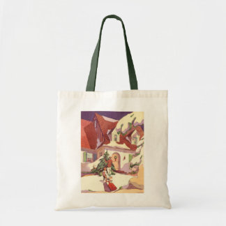 Vintage Christmas, Family House in the Snow Tote Bag