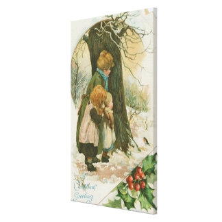 Vintage Christmas Family on Christmas Morning Canvas Print
