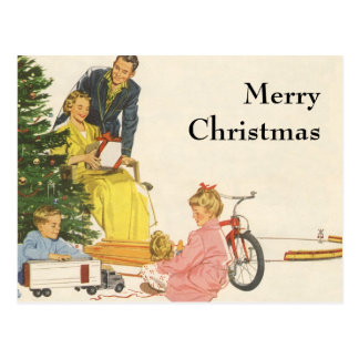 Vintage Christmas, Family Opening Gifts Post Cards