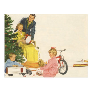 Vintage Christmas, Family Opening Gifts Postcards