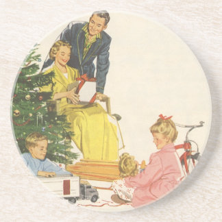 Vintage Christmas, Family Opening Presents Drink Coaster