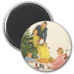 Vintage Christmas, Family Opening Presents 2 Inch Round Magnet