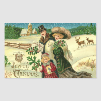 Vintage Christmas Family Rectangle Stickers