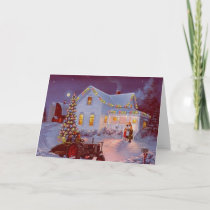 Vintage Christmas Family Scene Holiday Card
