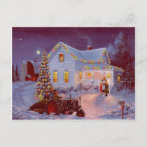 Vintage Christmas Family Scene Holiday Postcard