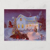 Vintage Christmas Family Scene Holiday Postcard
