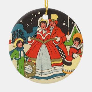 Vintage Christmas, Family Singing Carols Christmas Ornament