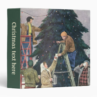 Vintage Christmas, Family Stringing Lights on Tree 3 Ring Binder