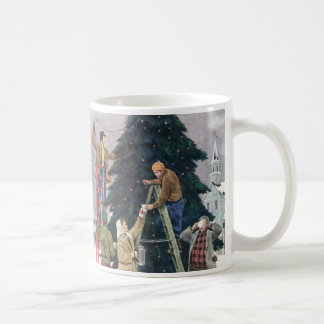 Vintage Christmas, Family Stringing Lights on Tree Coffee Mug