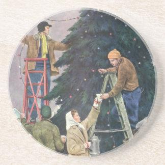 Vintage Christmas, Family Stringing Lights on Tree Drink Coaster