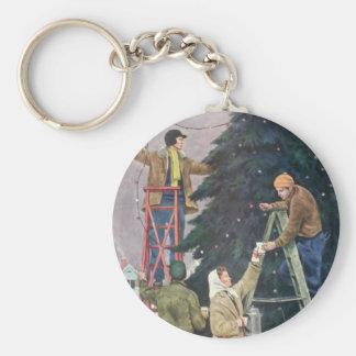Vintage Christmas, Family Stringing Lights on Tree Keychains