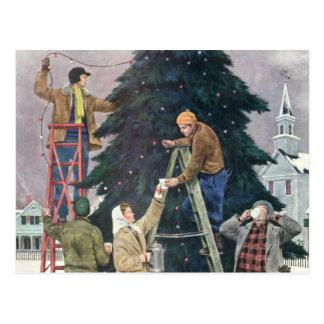 Vintage Christmas, Family Stringing Lights on Tree Postcard