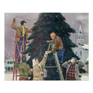 Vintage Christmas, Family Stringing Lights on Tree Poster