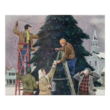 Coffee Themed Vintage Christmas, Family Stringing Lights on Tree Poster