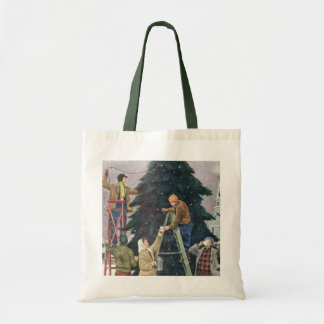 Vintage Christmas, Family Stringing Lights on Tree Tote Bag