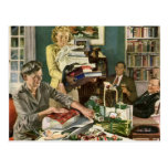 Vintage Christmas, Family Wrapping Gifts Postcard