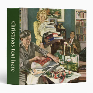 Vintage Christmas, Family Wrapping Presents 3 Ring Binder