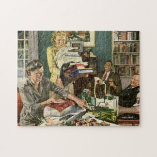 Vintage Christmas, Family Wrapping Presents Jigsaw Puzzle