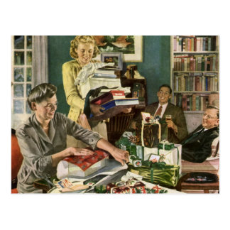 Vintage Christmas, Family Wrapping Presents Postcard