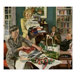 Vintage Christmas, Family Wrapping Presents Poster