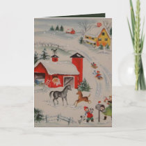 Vintage Christmas farm add message Holiday Card