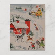 Vintage Christmas farm holiday postcard
