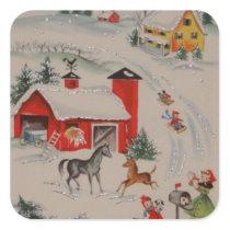 Vintage Christmas farm Holiday sticker