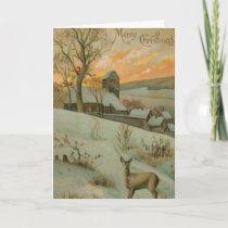 Vintage Christmas Farm with Deer Holiday Card