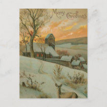 Vintage Christmas Farm with Deer Holiday Postcard