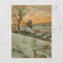 Vintage Christmas Farm with Deer Holiday Postcard
