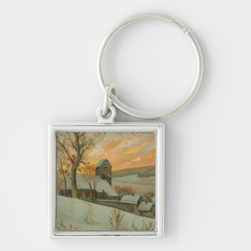 Vintage Christmas Farm with Deer Keychains