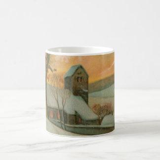 Vintage Christmas Farm with Deer Coffee Mugs