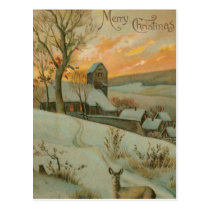 Vintage Christmas Farm with Deer Postcard