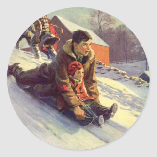 Vintage Christmas, Father and Daughter Sledding Classic Round Sticker