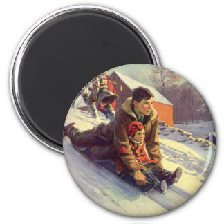 Vintage Christmas, Father and Daughter Sledding Magnet