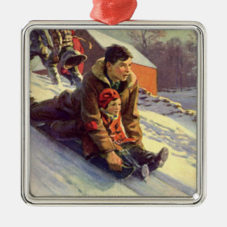 Vintage Christmas, Father and Daughter Sledding Metal Ornament