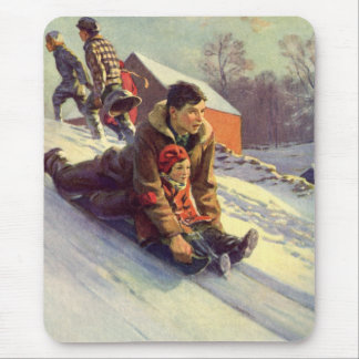 Vintage Christmas, Father and Daughter Sledding Mouse Pad