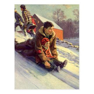 Vintage Christmas, Father and Daughter Sledding Postcard