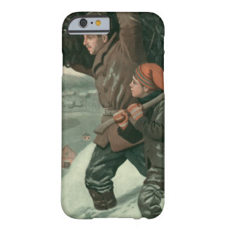 Vintage Christmas, Father and Son Cut Down aTree Barely There iPhone 6 Case
