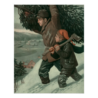 Vintage Christmas, Father and Son Cut Down aTree Poster