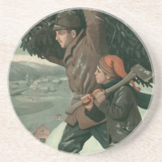 Vintage Christmas, Father and Son Cut Down aTree Sandstone Coaster