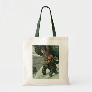 Vintage Christmas, Father and Son Cut Down aTree Tote Bag
