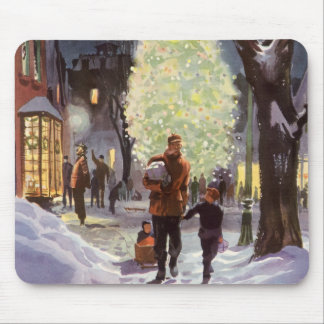 Vintage Christmas, Father Shopping with the Kids Mouse Pad