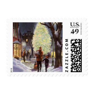 Vintage Christmas, Father Shopping with the Kids Postage